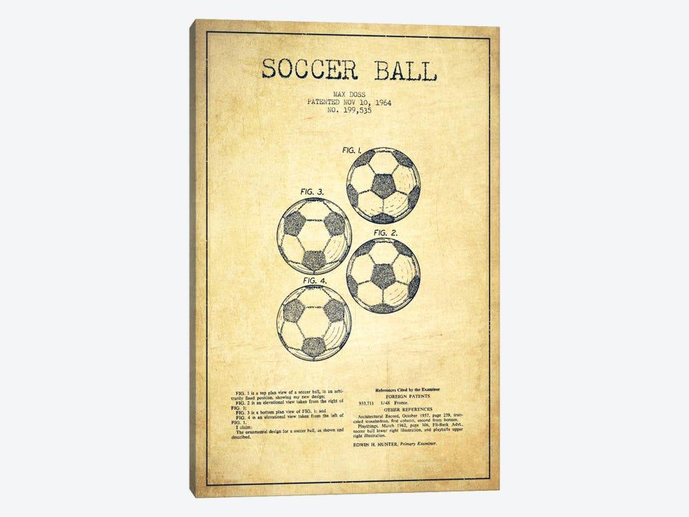 Soccer Ball Vintage Patent Blueprint by Aged Pixel 1-piece Canvas Print