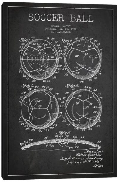 Bartky Soccer Ball Charcoal Patent Blueprint Canvas Art Print