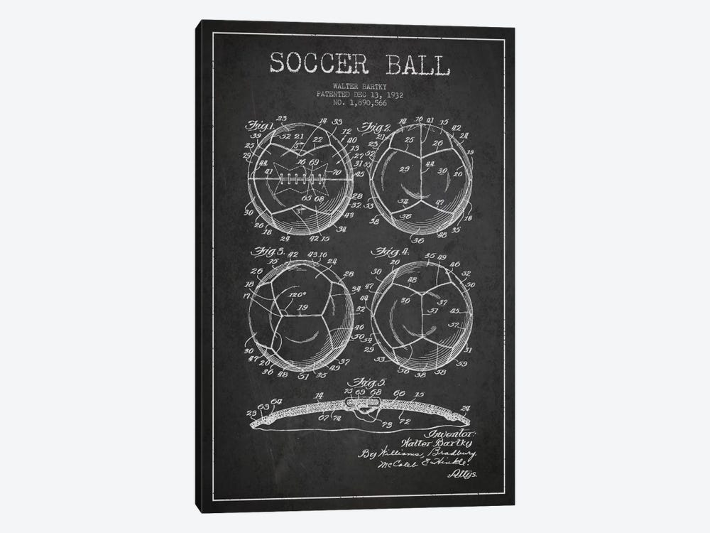 Bartky Soccer Ball Charcoal Patent Blueprint by Aged Pixel 1-piece Canvas Artwork
