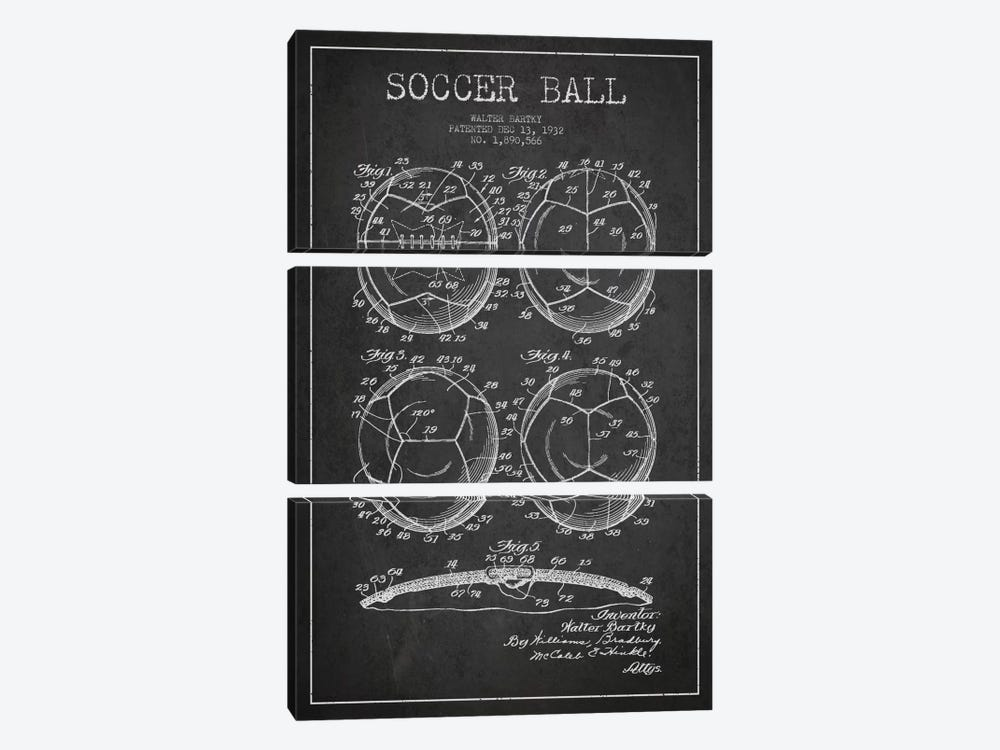 Bartky Soccer Ball Charcoal Patent Blueprint by Aged Pixel 3-piece Canvas Wall Art