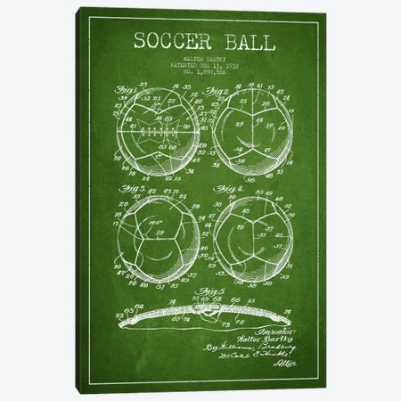 Bartky Soccer Ball Green Patent Blueprint Canvas Print #ADP2246} by Aged Pixel Canvas Print