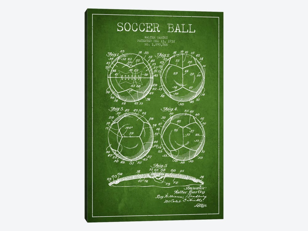 Bartky Soccer Ball Green Patent Blueprint by Aged Pixel 1-piece Art Print
