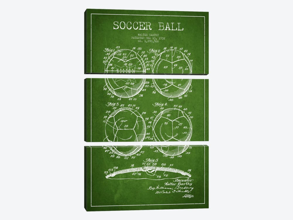 Bartky Soccer Ball Green Patent Blueprint by Aged Pixel 3-piece Canvas Print