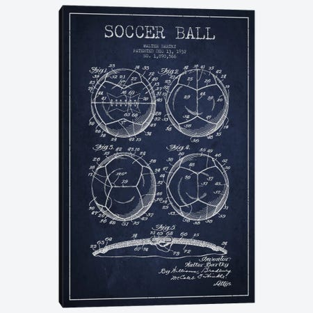 Bartky Soccer Ball Navy Blue Patent Blueprint Canvas Print #ADP2247} by Aged Pixel Canvas Art Print
