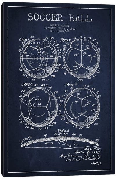Bartky Soccer Ball Navy Blue Patent Blueprint Canvas Art Print