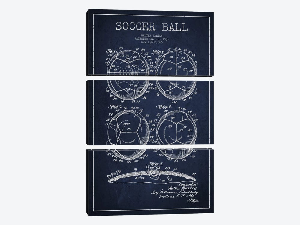 Bartky Soccer Ball Navy Blue Patent Blueprint by Aged Pixel 3-piece Canvas Wall Art