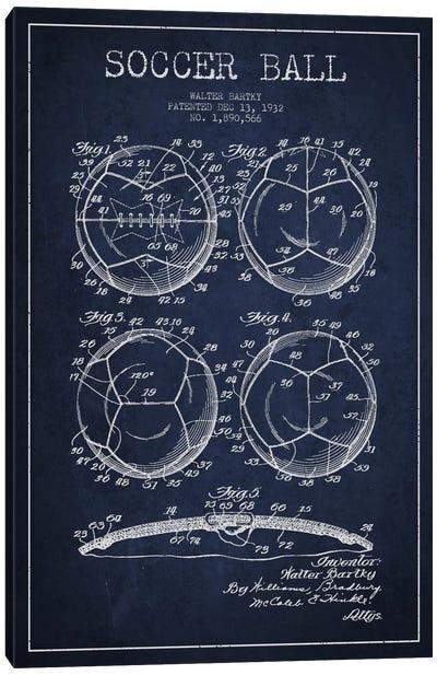 Bartky Soccer Ball Navy Blue Patent Blueprint Canvas Art Print