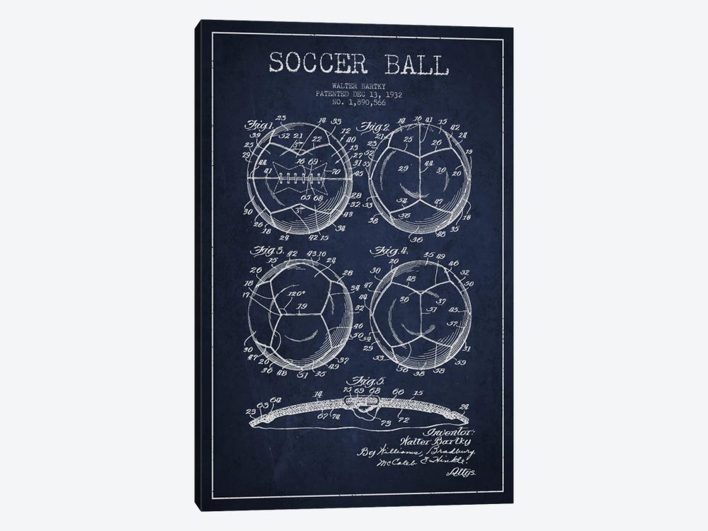 Bartky Soccer Ball Navy Blue Patent Blueprint by Aged Pixel 1-piece Canvas Artwork