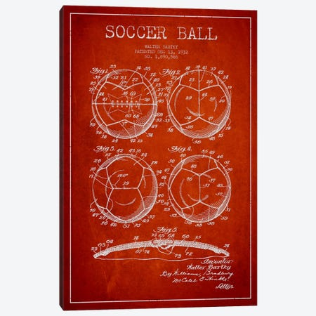 Bartky Soccer Ball Red Patent Blueprint Canvas Print #ADP2248} by Aged Pixel Canvas Art