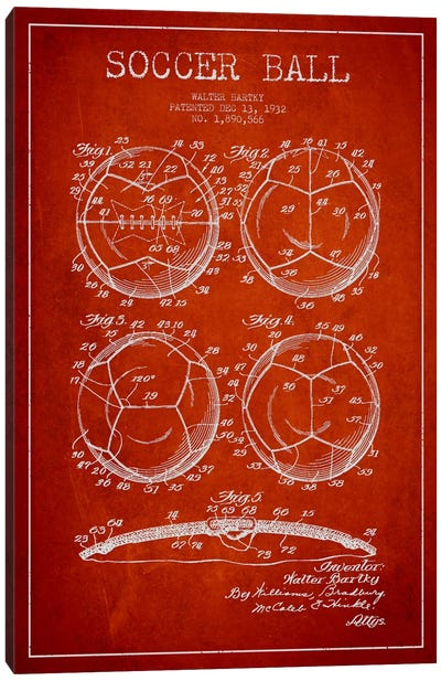 Bartky Soccer Ball Red Patent Blueprint Canvas Art Print