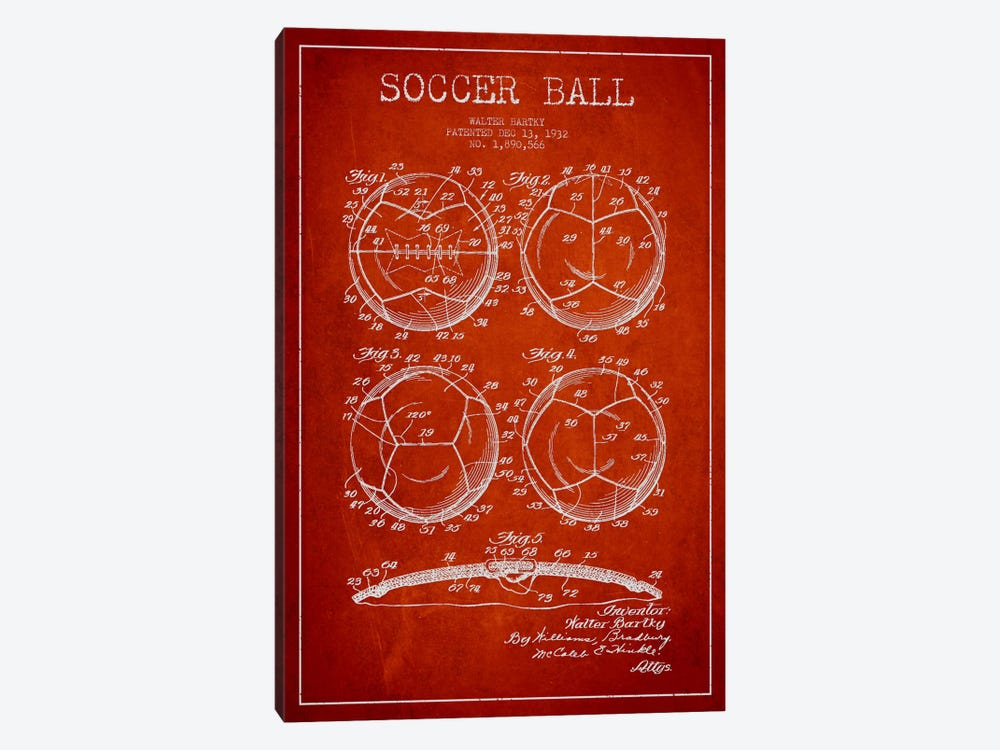 Bartky Soccer Ball Red Patent Blueprint by Aged Pixel 1-piece Canvas Art Print