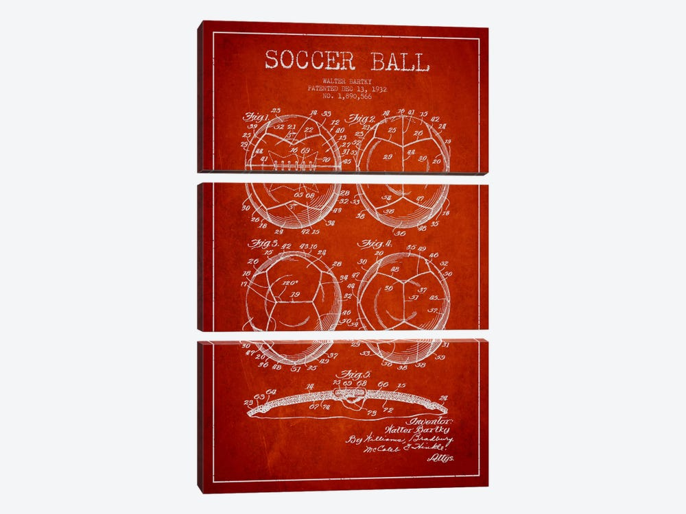 Bartky Soccer Ball Red Patent Blueprint by Aged Pixel 3-piece Art Print