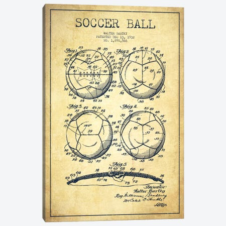 Bartky Soccer Ball Vintage Patent Blueprint Canvas Print #ADP2249} by Aged Pixel Canvas Artwork