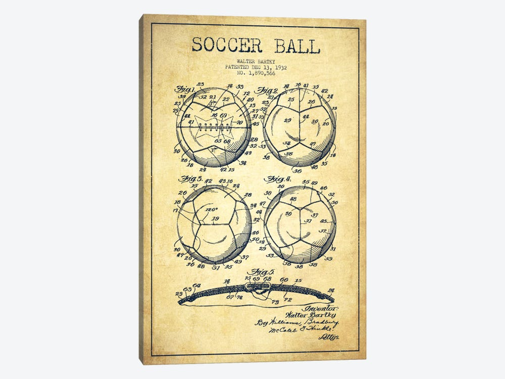 Bartky Soccer Ball Vintage Patent Blueprint by Aged Pixel 1-piece Canvas Wall Art