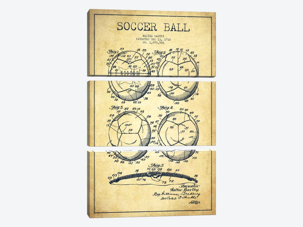 Bartky Soccer Ball Vintage Patent Blueprint by Aged Pixel 3-piece Canvas Artwork