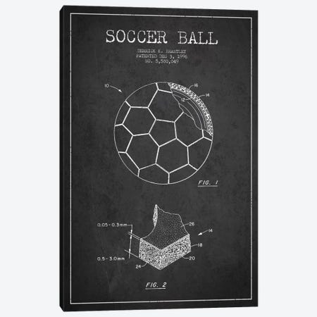 Brantley Soccer Ball Charcoal Patent Blueprint Canvas Print #ADP2250} by Aged Pixel Canvas Art Print