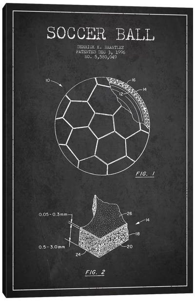 Brantley Soccer Ball Charcoal Patent Blueprint Canvas Print #ADP2250