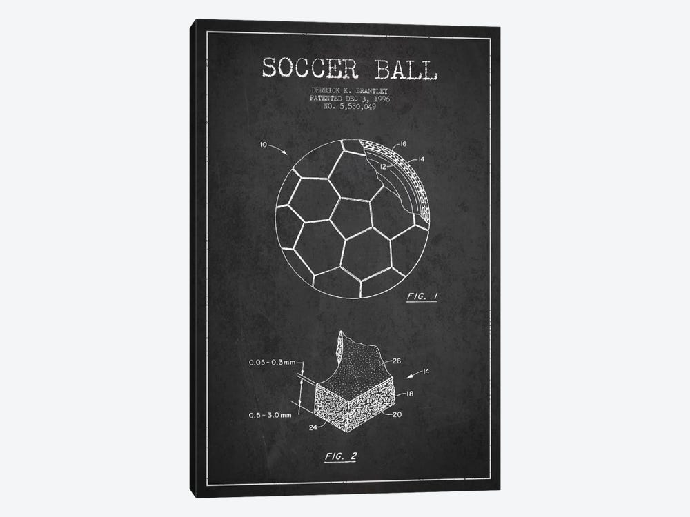 Brantley Soccer Ball Charcoal Patent Blueprint by Aged Pixel 1-piece Canvas Wall Art