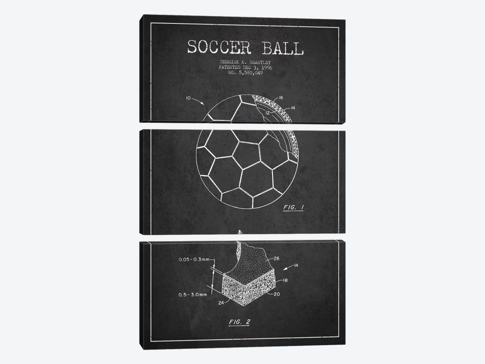 Brantley Soccer Ball Charcoal Patent Blueprint by Aged Pixel 3-piece Canvas Art