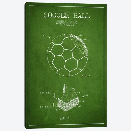 Brantley Soccer Ball Green Patent Blueprint Canvas Print #ADP2251} by Aged Pixel Canvas Art Print