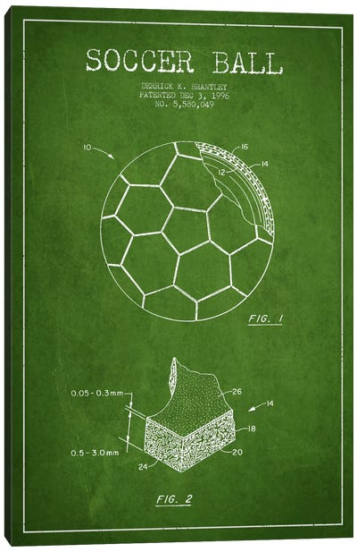 Brantley Soccer Ball Green Patent Blueprint Canvas Art Print