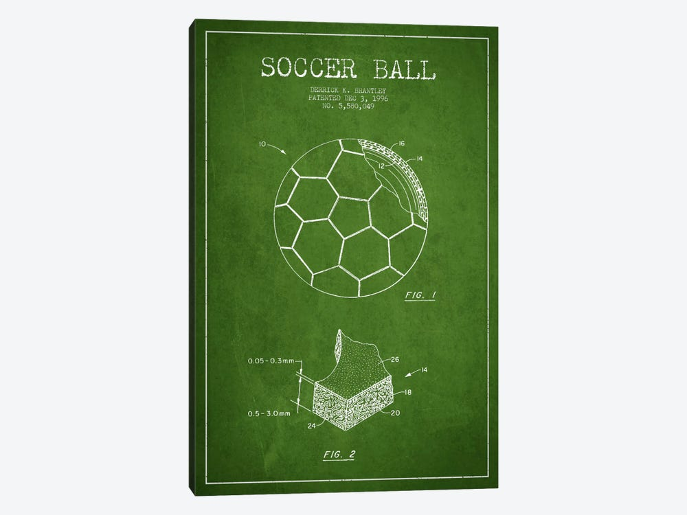 Brantley Soccer Ball Green Patent Blueprint by Aged Pixel 1-piece Canvas Art Print