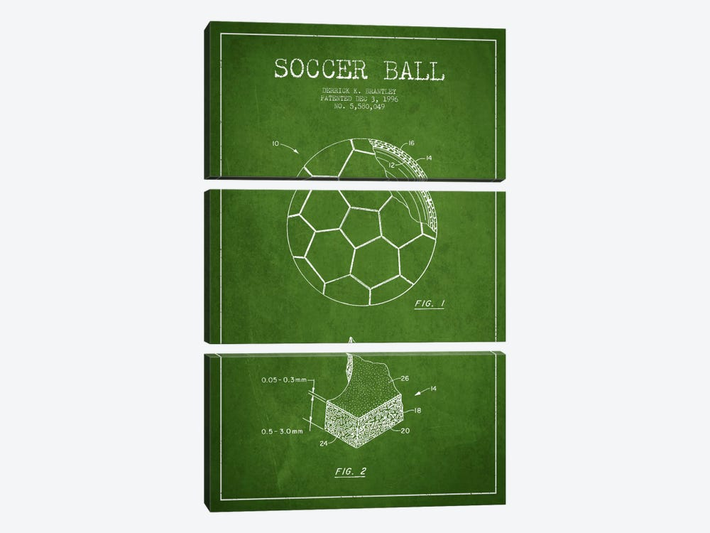 Brantley Soccer Ball Green Patent Blueprint by Aged Pixel 3-piece Art Print
