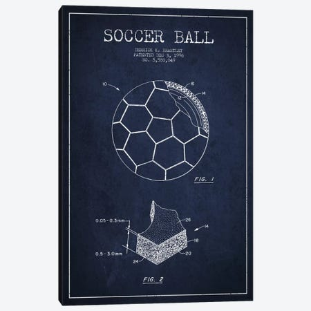 Brantley Soccer Ball Navy Blue Patent Blueprint Canvas Print #ADP2252} by Aged Pixel Canvas Print