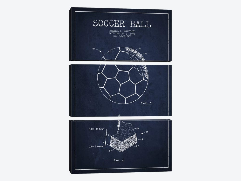 Brantley Soccer Ball Navy Blue Patent Blueprint by Aged Pixel 3-piece Canvas Art
