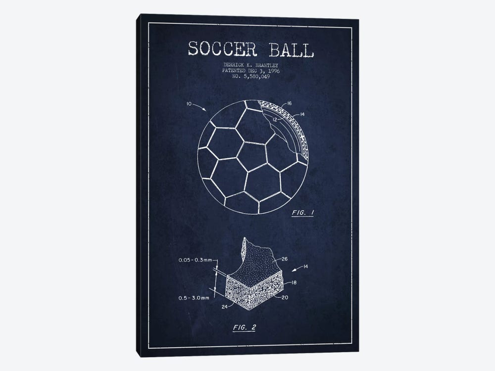 Brantley Soccer Ball Navy Blue Patent Blueprint by Aged Pixel 1-piece Canvas Artwork