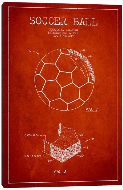 Brantley Soccer Ball Red Patent Blueprint Canvas Art Print