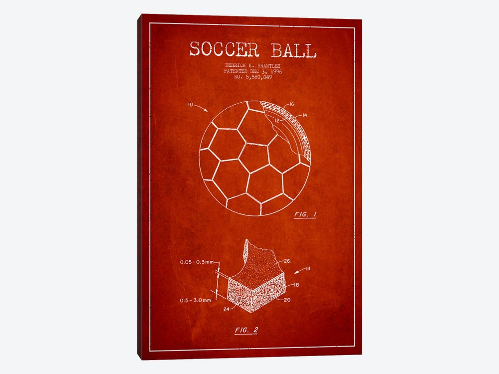 Brantley Soccer Ball Red Patent Blueprint by Aged Pixel 1-piece Art Print