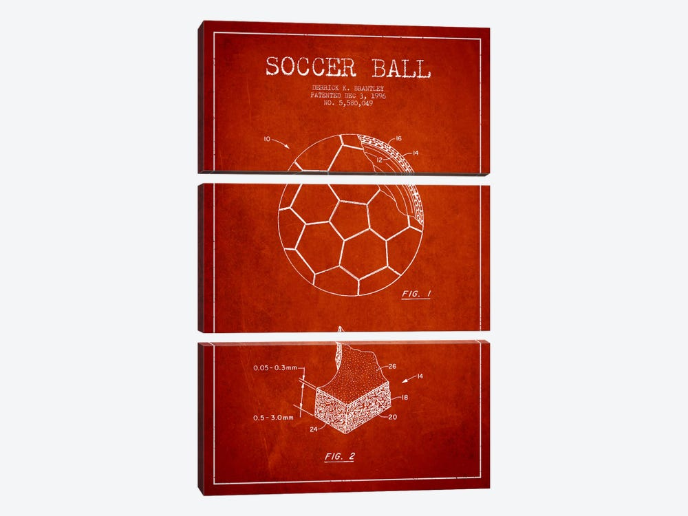 Brantley Soccer Ball Red Patent Blueprint by Aged Pixel 3-piece Canvas Print