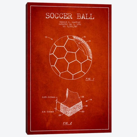 Brantley Soccer Ball Red Patent Blueprint Canvas Print #ADP2253} by Aged Pixel Canvas Art Print