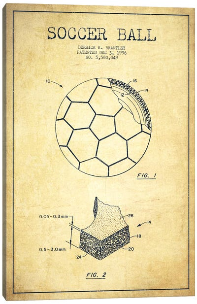 Brantley Soccer Ball Vintage Patent Blueprint Canvas Print #ADP2254
