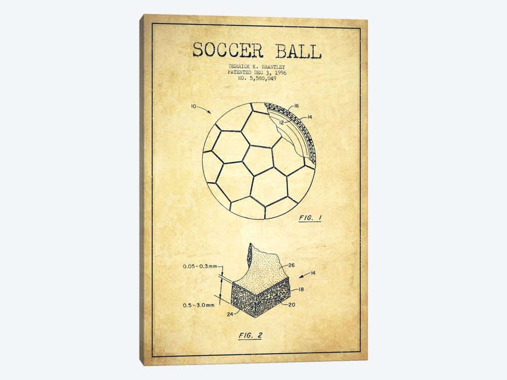 Brantley Soccer Ball Vintage Patent Blueprint by Aged Pixel 1-piece Canvas Artwork