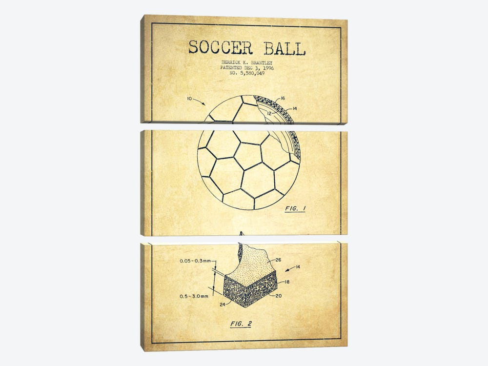 Brantley Soccer Ball Vintage Patent Blueprint by Aged Pixel 3-piece Canvas Art