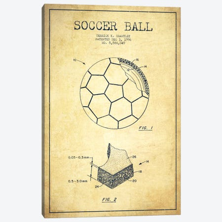 Brantley Soccer Ball Vintage Patent Blueprint Canvas Print #ADP2254} by Aged Pixel Canvas Wall Art