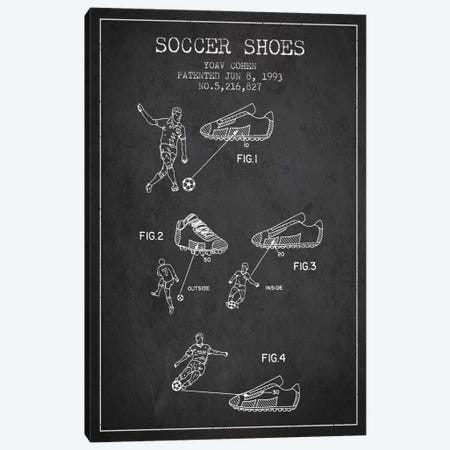 Cohen Soccer Shoe Charcoal Patent Blueprint Canvas Print #ADP2255} by Aged Pixel Canvas Art
