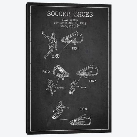 Cohen Soccer Shoe Charcoal Patent Blueprint Canvas Print #ADP2255} by Aged Pixel Canvas Art