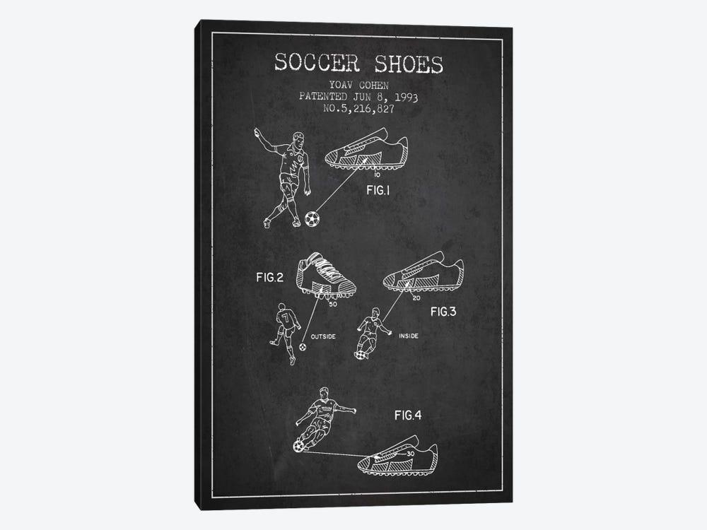 Cohen Soccer Shoe Charcoal Patent Blueprint by Aged Pixel 1-piece Canvas Print