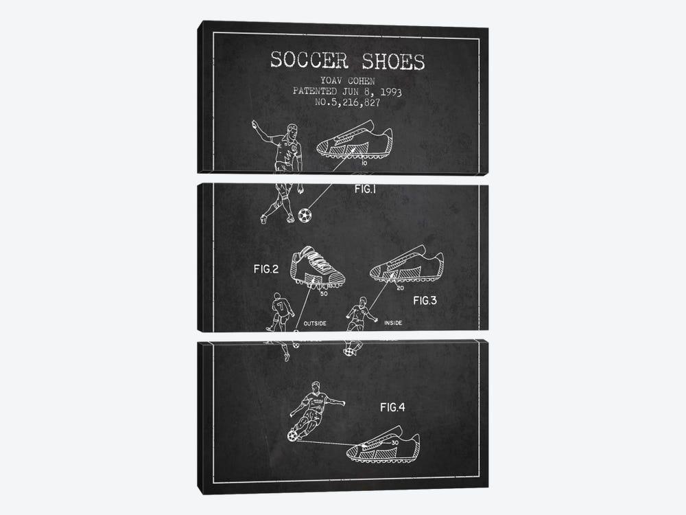 Cohen Soccer Shoe Charcoal Patent Blueprint by Aged Pixel 3-piece Art Print