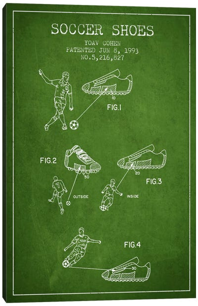 Cohen Soccer Shoe Green Patent Blueprint Canvas Art Print