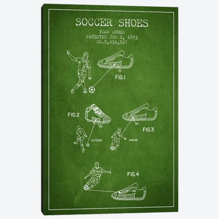Cohen Soccer Shoe Green Patent Blueprint Canvas Print #ADP2256} by Aged Pixel Canvas Wall Art