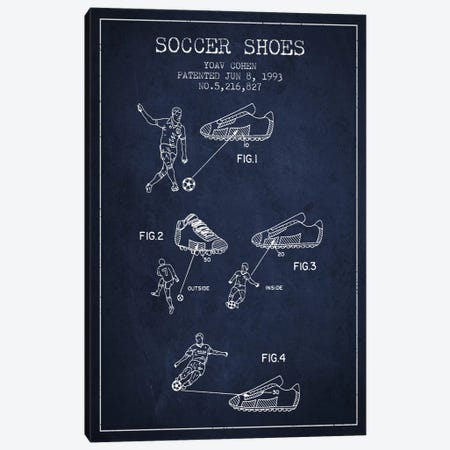 Cohen Soccer Shoe Navy Blue Patent Blueprint Canvas Print #ADP2257} by Aged Pixel Canvas Art