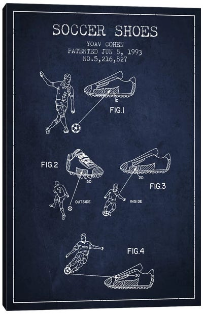 Cohen Soccer Shoe Navy Blue Patent Blueprint Canvas Art Print