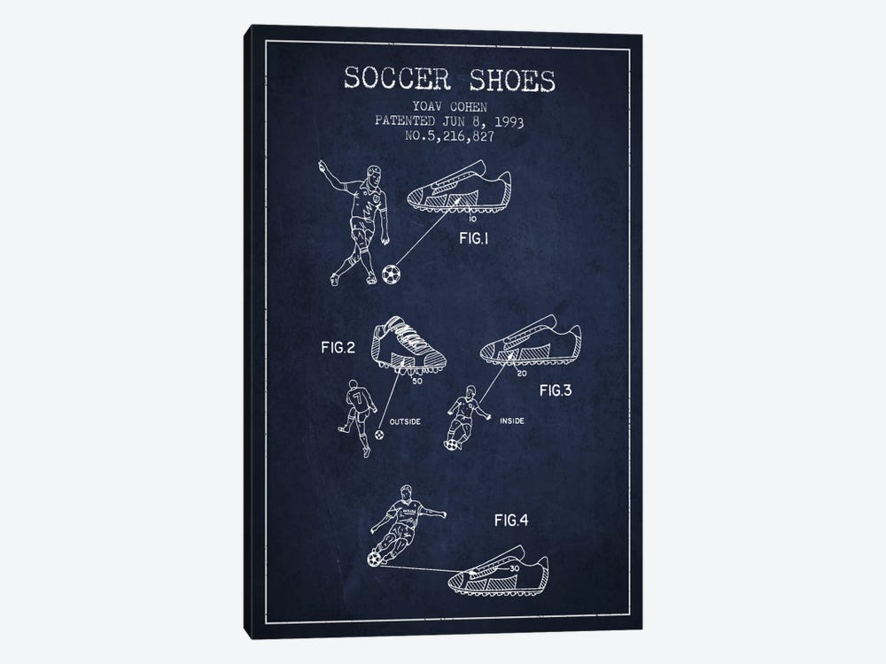 Cohen Soccer Shoe Navy Blue Patent Blueprint by Aged Pixel 1-piece Canvas Art Print