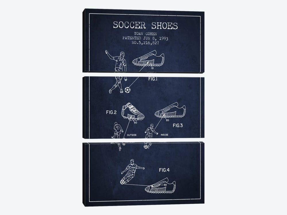 Cohen Soccer Shoe Navy Blue Patent Blueprint by Aged Pixel 3-piece Canvas Art Print