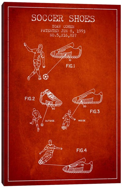 Cohen Soccer Shoe Red Patent Blueprint Canvas Art Print