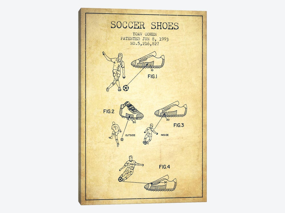 Cohen Soccer Shoe Vintage Patent Blueprint by Aged Pixel 1-piece Canvas Print